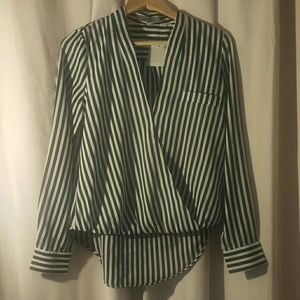Aryn K Tops - Aryn K Long sleeve black and white striped top xs